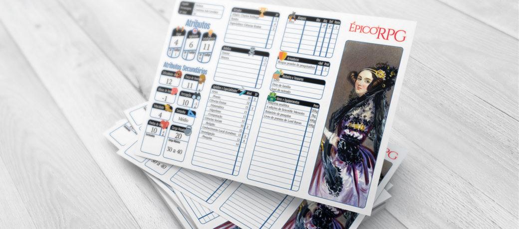 Mockup da nova ficha do Épico RPG